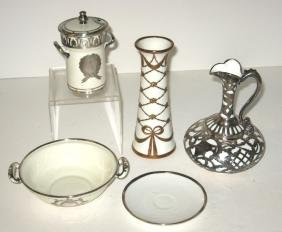 Group of five silver overlay porcelain items.