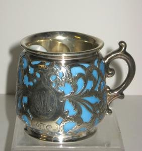 Rare Limoges silver overlay mustache cup,