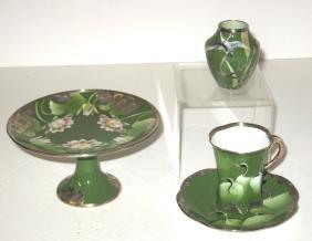 Three piece Oriental silver overlay,