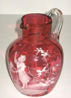 Mary Gregory ruby glass pitcher,