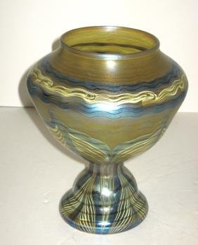 Decorated Tiffany Favrile glass vase,