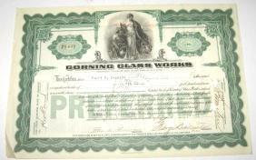 Original Corning glass Works stock certificate