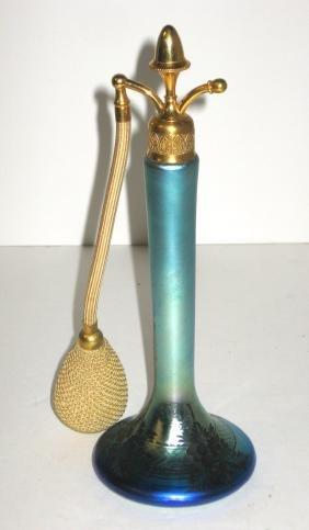 Steuben engraved Blue Aurene glass atomizer
