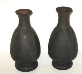 Pair of Schneider art glass vases,