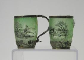 Two Daum Nancy French cameo cups,