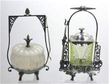 Two Vintage glass pickle castors,