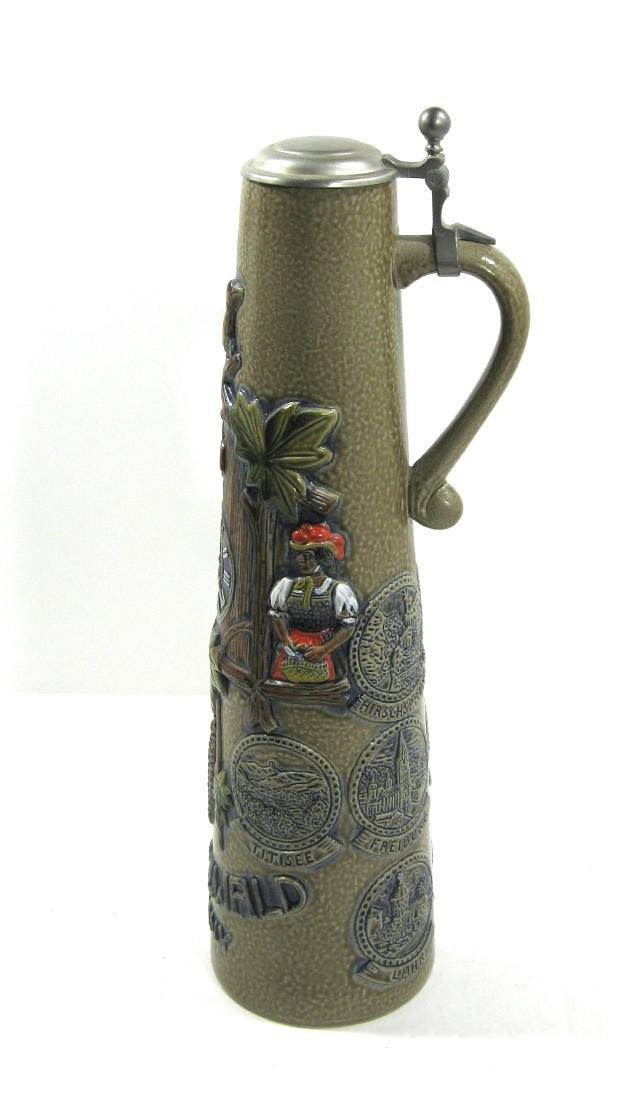 Tall German pottery stein, - 2