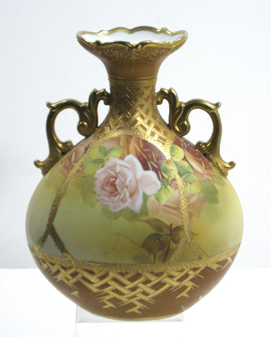 Nippon two handled porcelain vase,