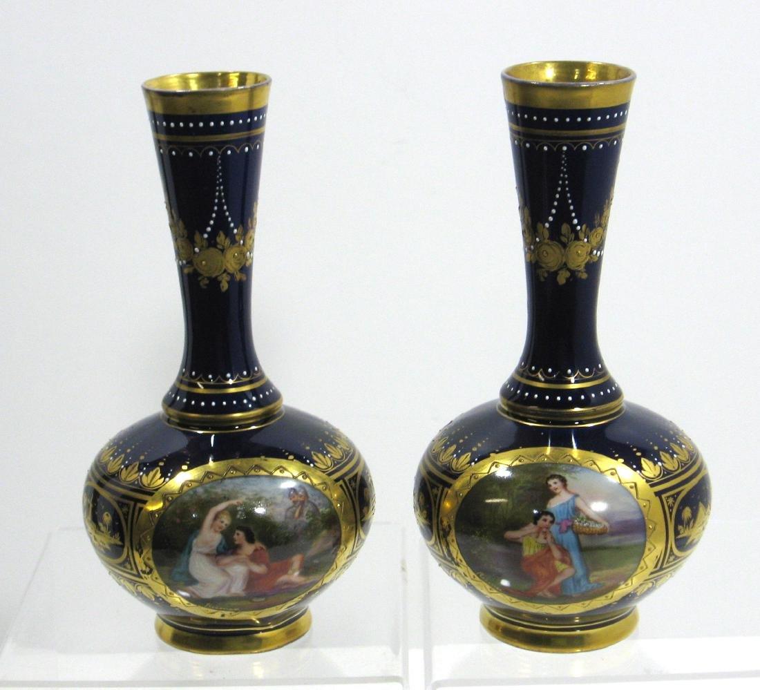 Pair of Royal Vienna porcelain vases,
