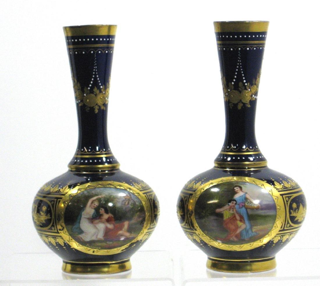 Pair of Royal Vienna porcelain vases, - 2