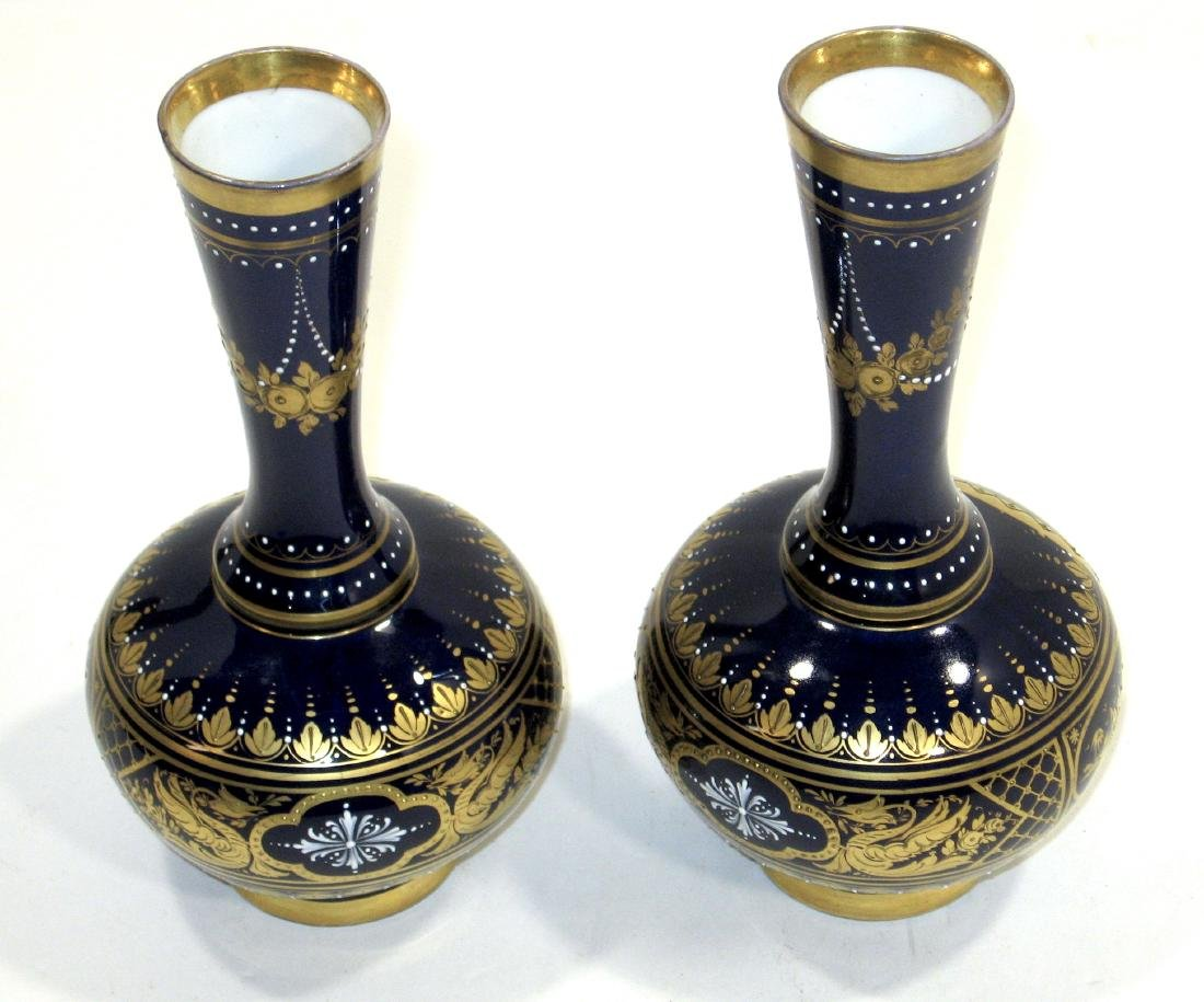 Pair of Royal Vienna porcelain vases, - 3