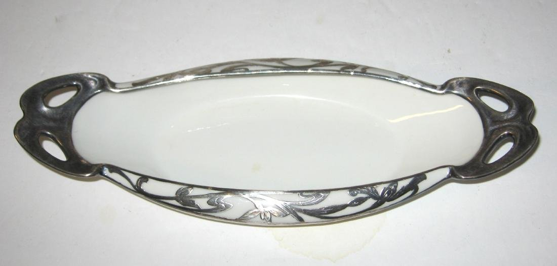 4 white porcelain silver overlay items - 2