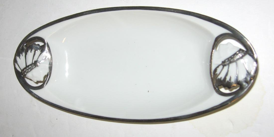 4 white porcelain silver overlay items - 4