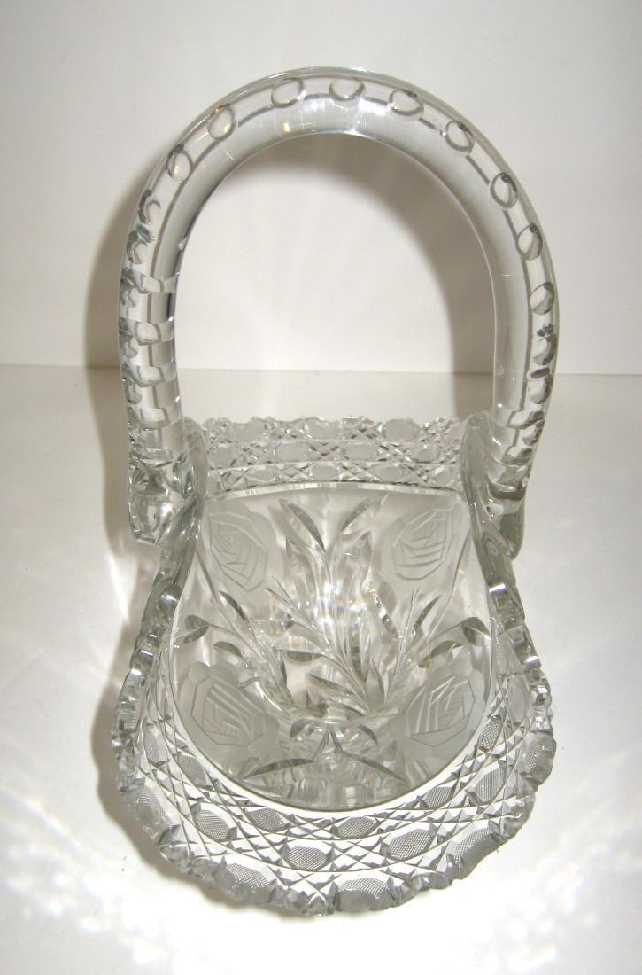 Large Cut glass basket, - 2