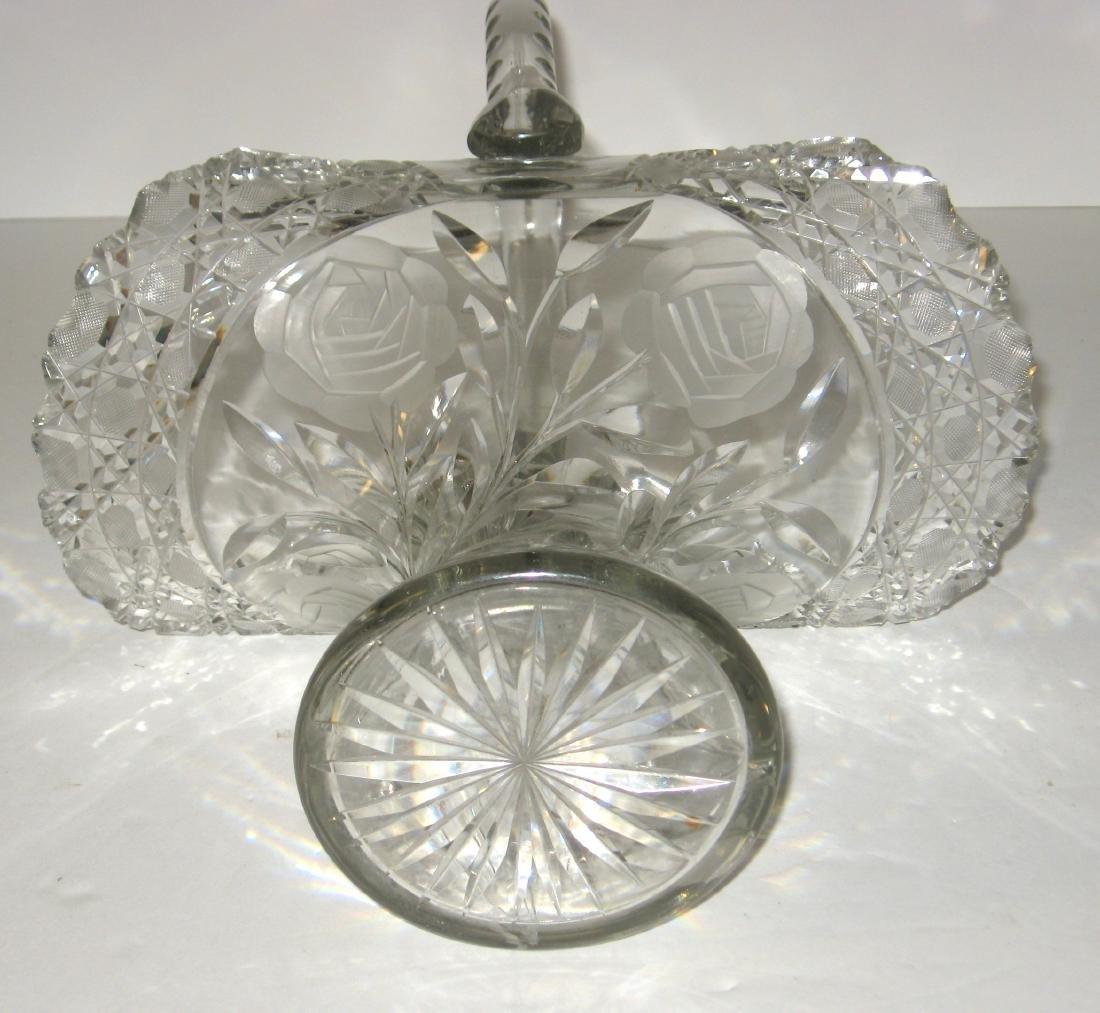 Large Cut glass basket, - 4