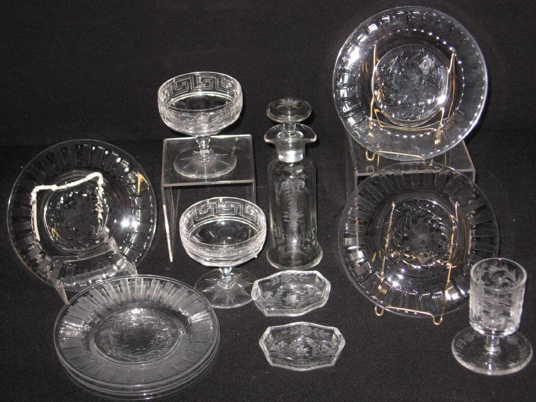 Group of Hawkes and etched glass,