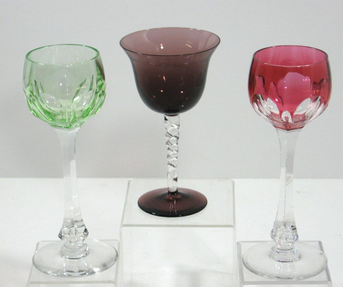 Three Art Glass stems,