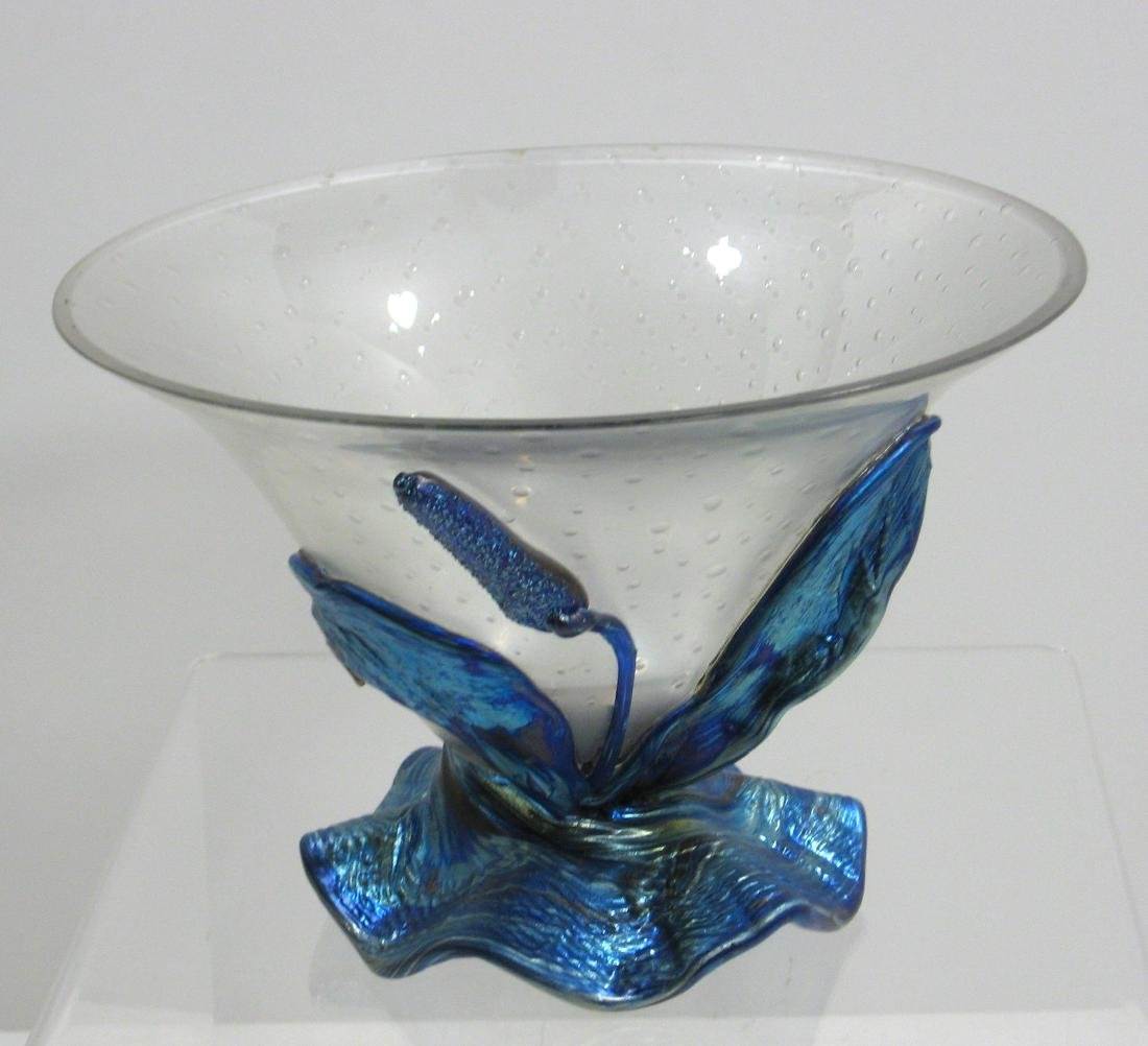 Loetz art glass compote,