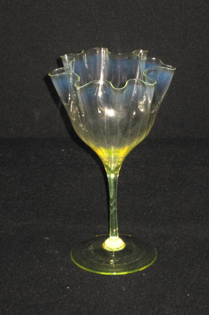 Powell Vaseline glass flower form