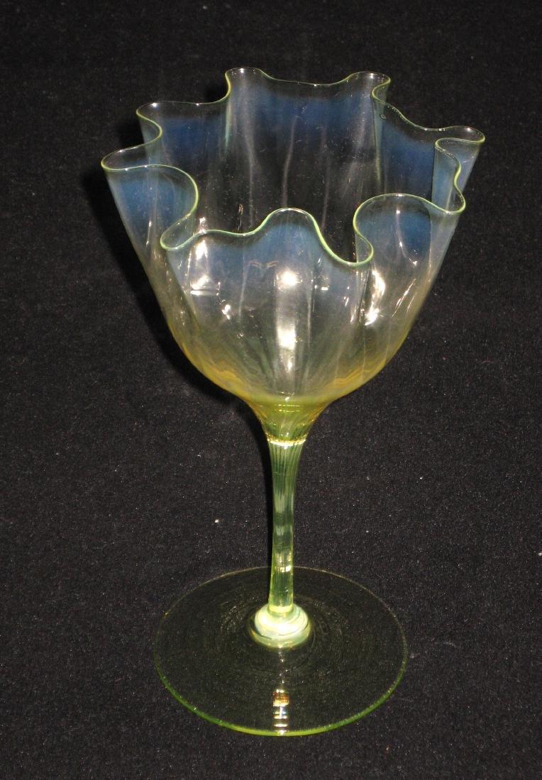 Powell Vaseline glass flower form - 2