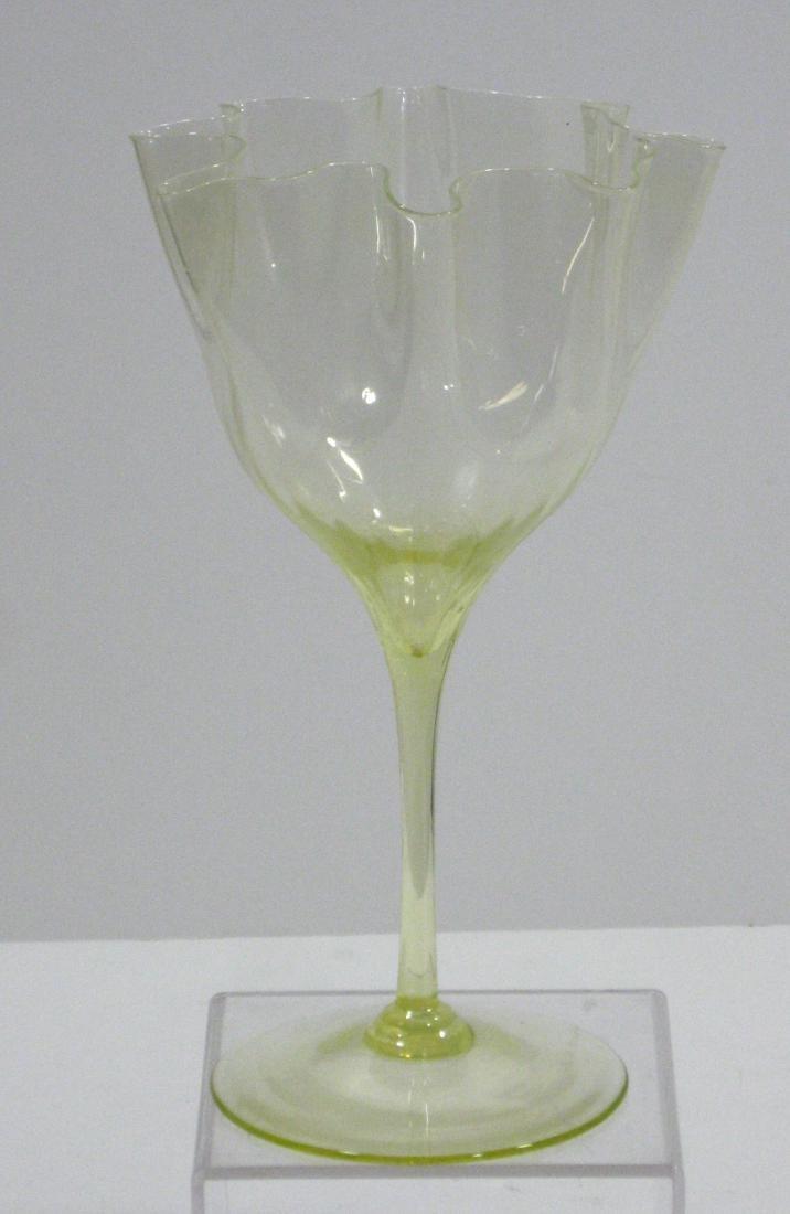 Powell Vaseline glass flower form - 3