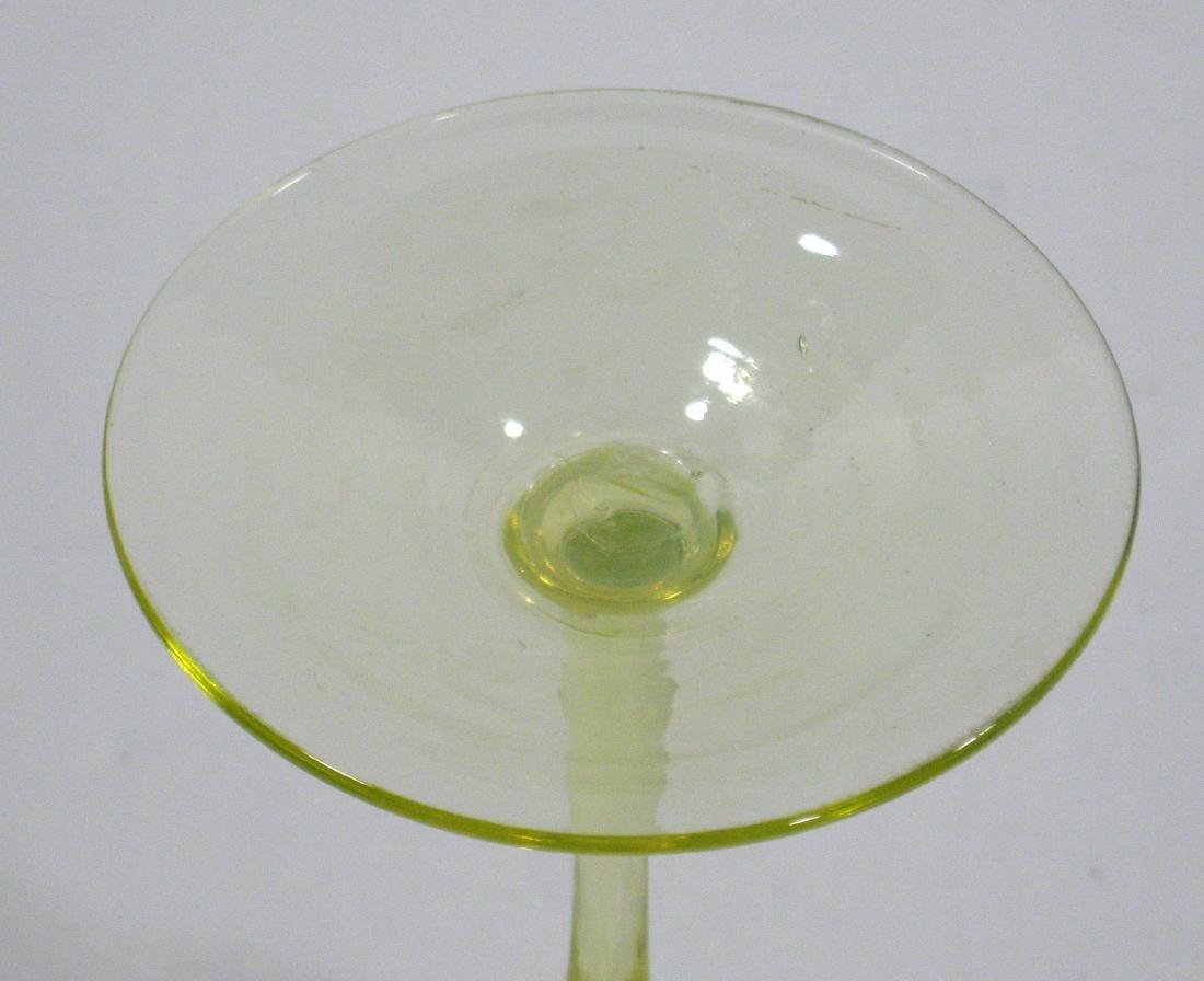Powell Vaseline glass flower form - 4
