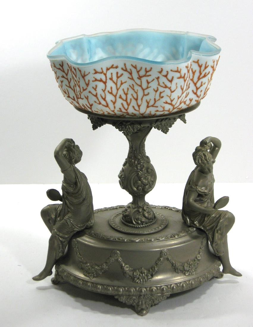 Coralene brides bowl and stand