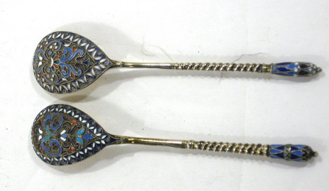 Two Russian enameled silver spoons,