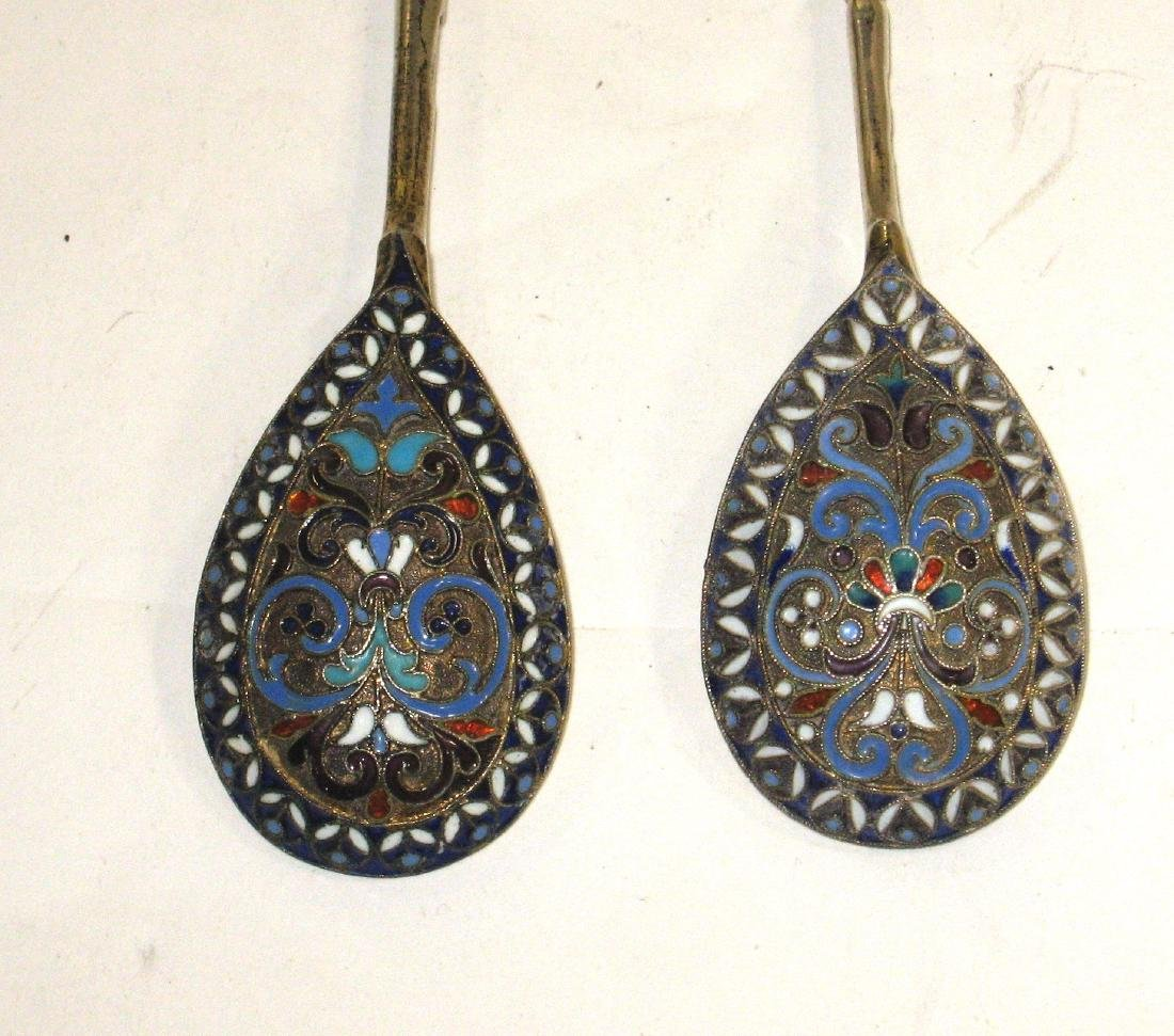 Two Russian enameled silver spoons, - 2