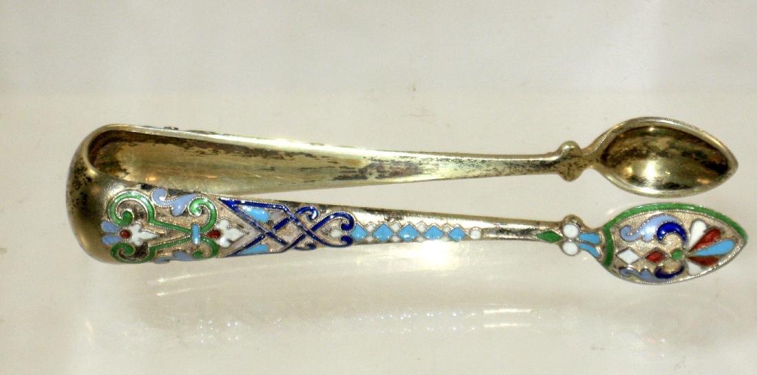 Russian enameled silver tongs,