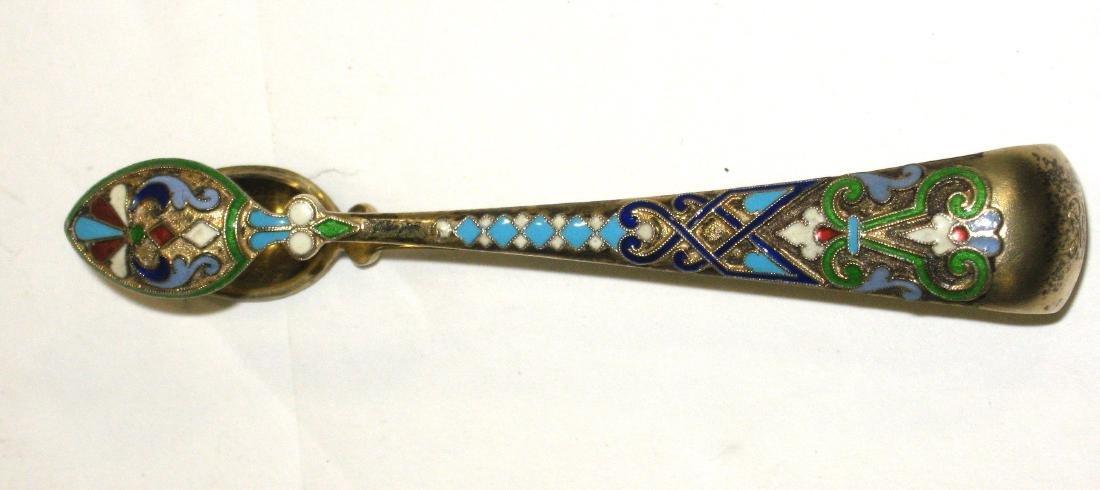 Russian enameled silver tongs, - 2