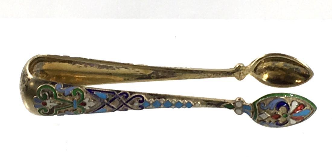 Russian enameled silver tongs, - 3