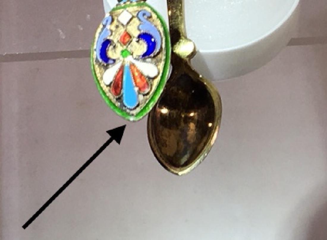 Russian enameled silver tongs, - 5