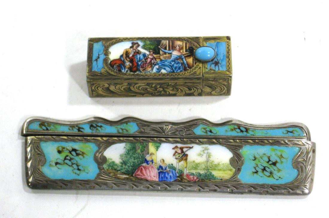 Two silver enameled items,