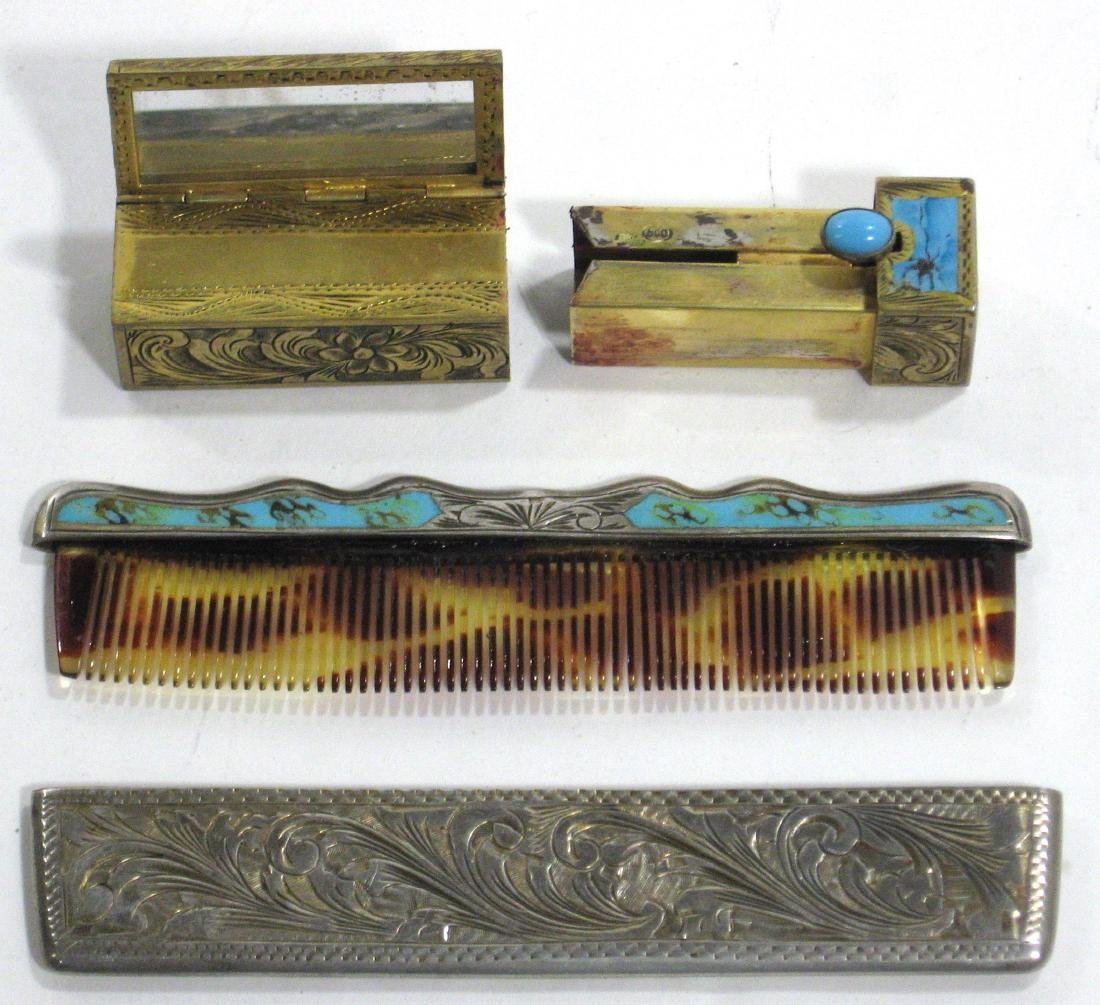 Two silver enameled items, - 2