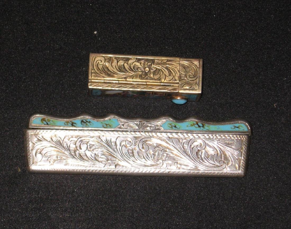 Two silver enameled items, - 3