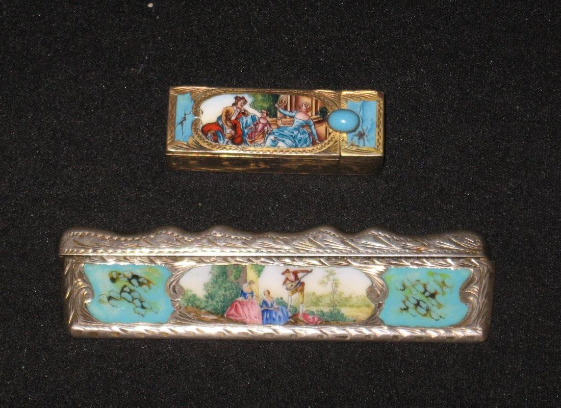 Two silver enameled items, - 4