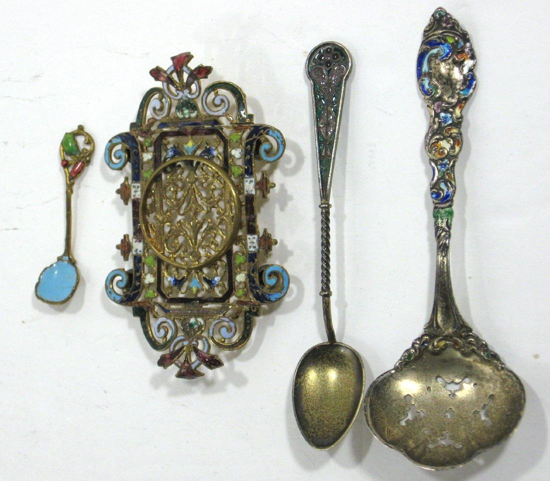 Three piece grouping of enamels,