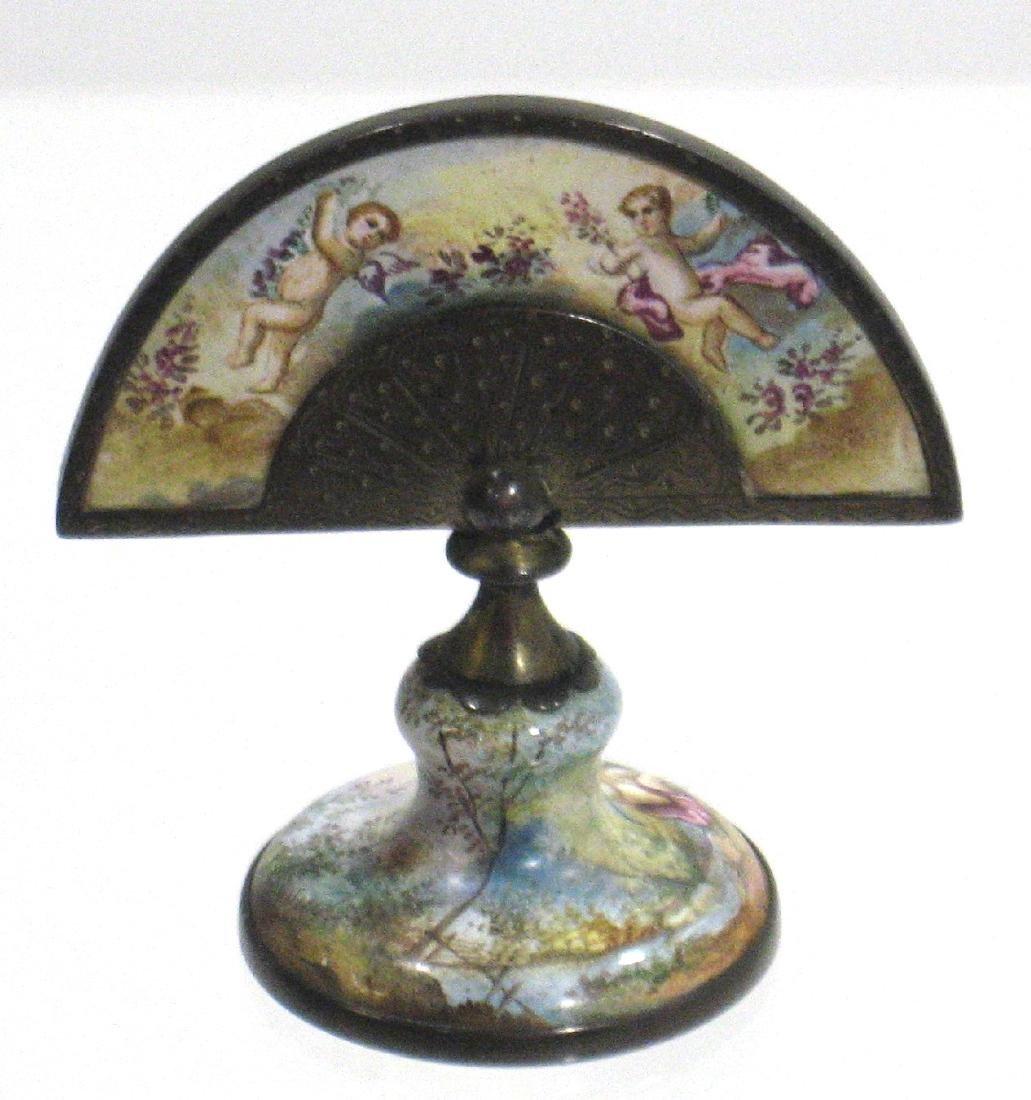 Austrian enameled fan paperweight