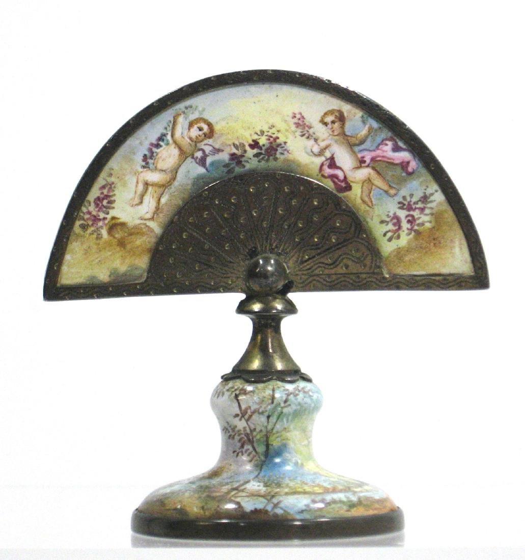 Austrian enameled fan paperweight - 2