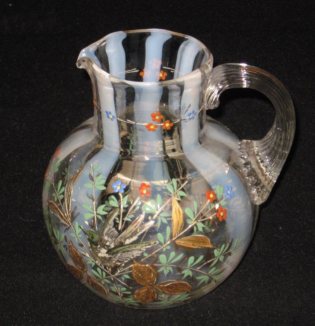 Magnificent opalescent glass pitcher
