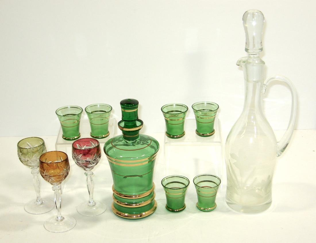 Group of glass bar and drinking items