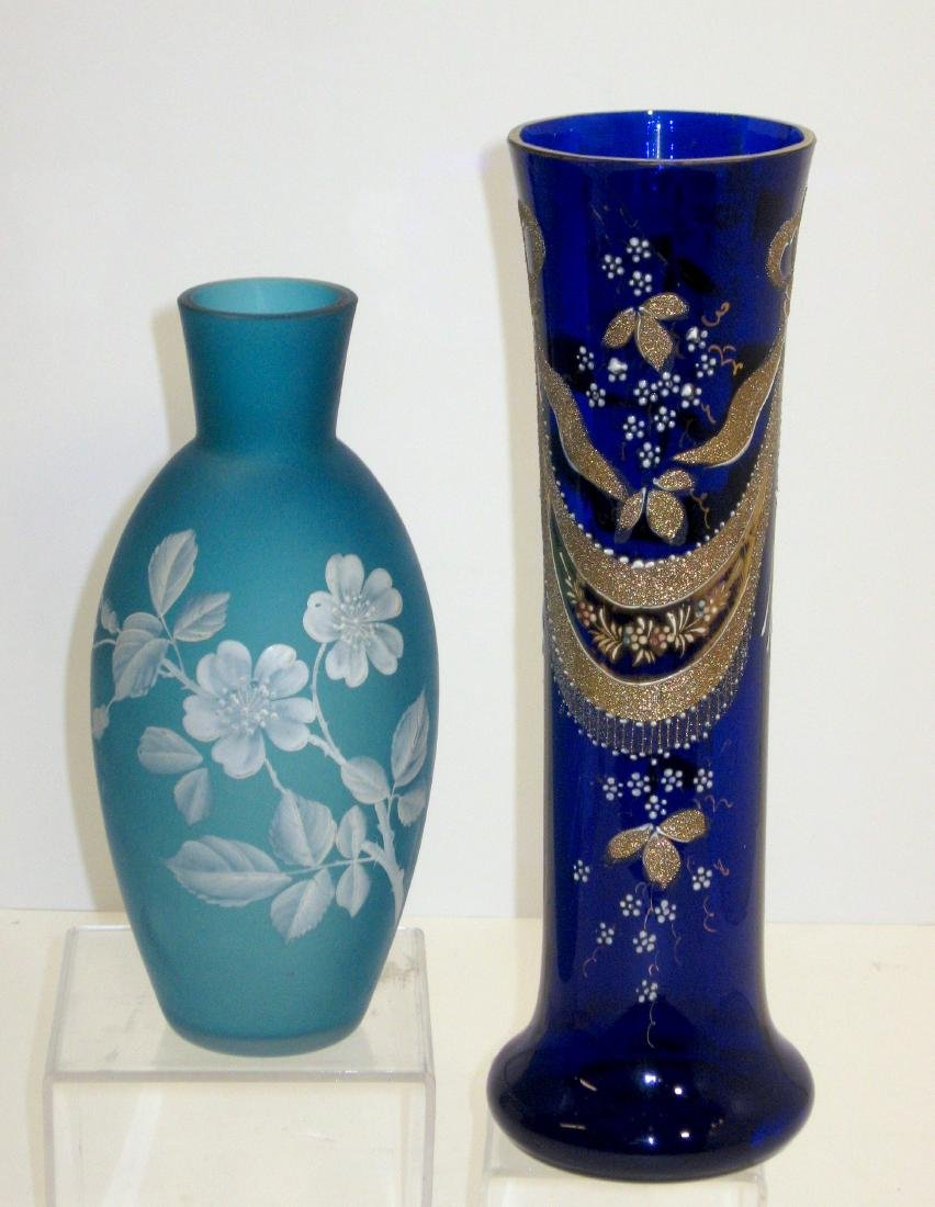 Two Victorian enameled glass vases,