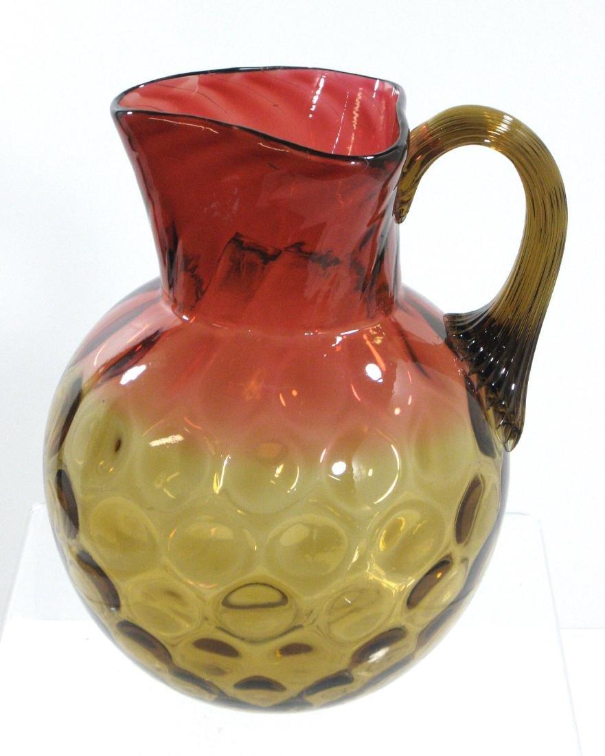 Amberina glass water pitcher,
