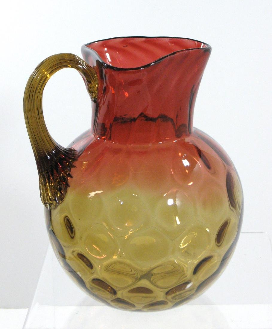 Amberina glass water pitcher, - 4