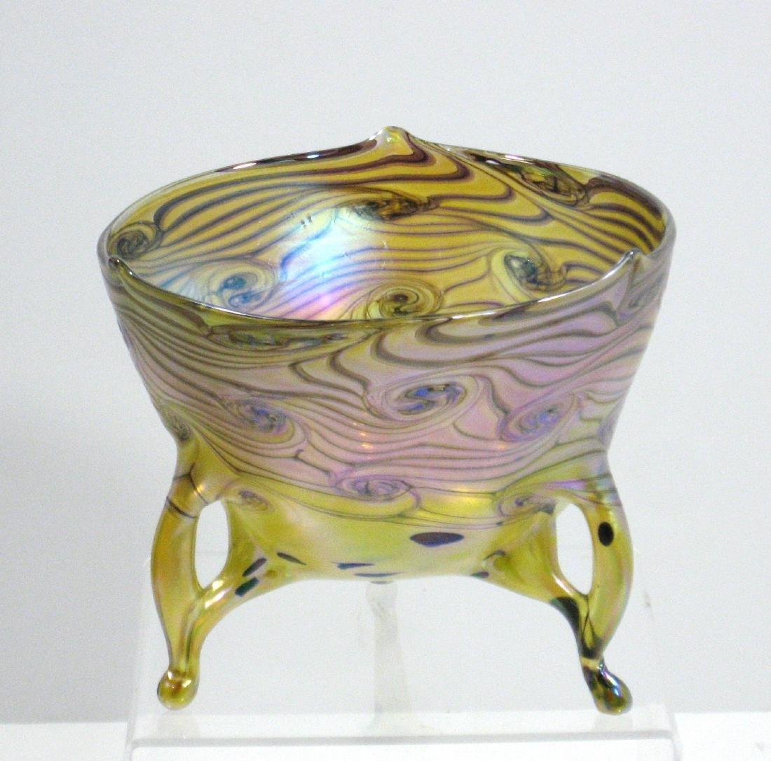 Czech art glass footed bowl,