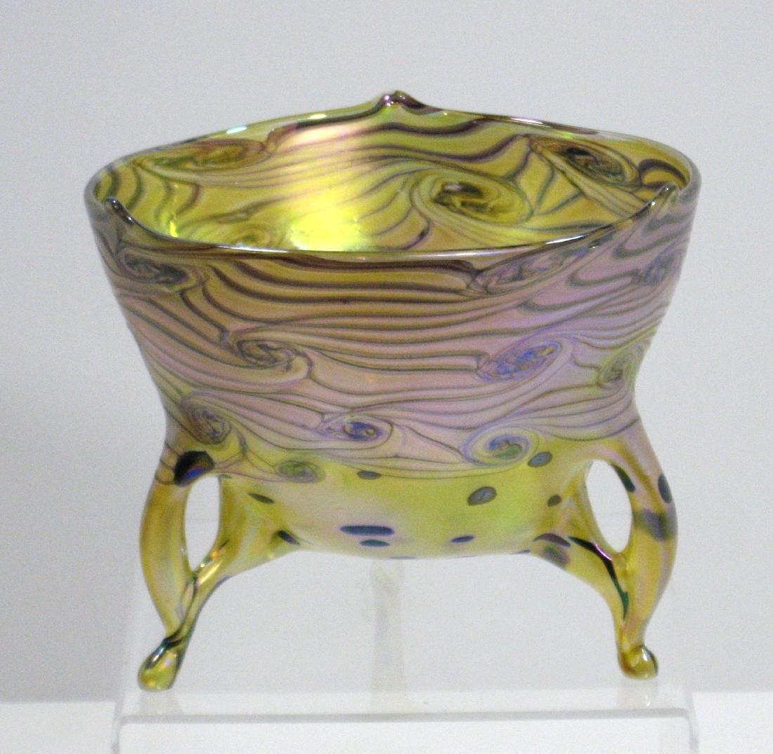 Czech art glass footed bowl, - 2