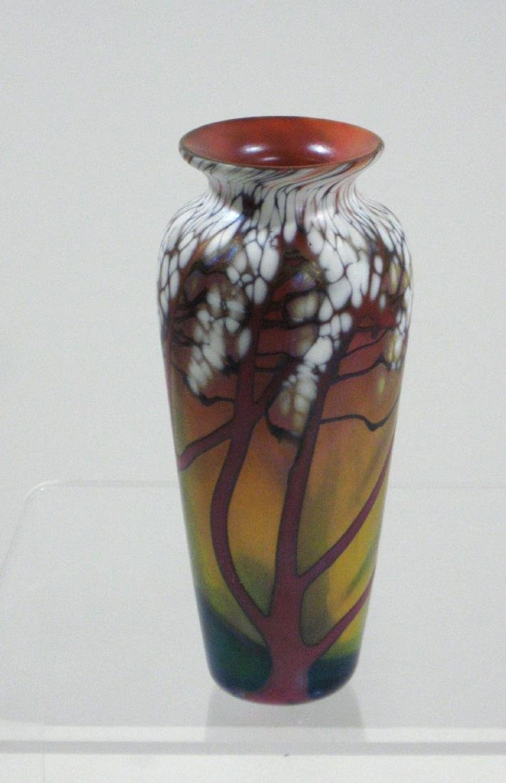 Carl Radke cheery blossom glass vase,