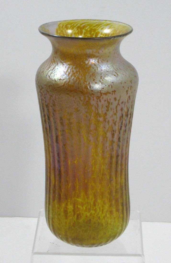 Iridescent gold art glass vase,