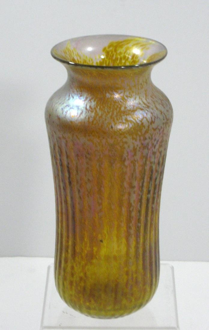 Iridescent gold art glass vase, - 2